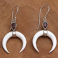 Garnet and bone dangle earrings, 'Sanur Crescents' - Garnet and Crescent Bone Dangle Earrings from Bali