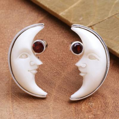 Garnet and bone stud earrings, 'Awake Moons' - Garnet and Bone Crescent Moon Stud Earrings from Bali