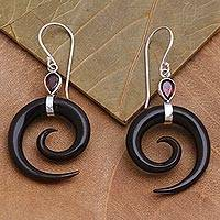 Garnet and horn dangle earrings, 'Shadow Swirls' - Swirl-Shaped Garnet and Dark Horn Dangle Earrings from Bali