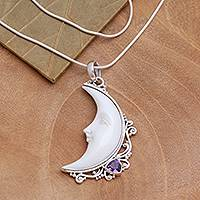 Amethyst and bone pendant necklace, 'Resting Moon' - Amethyst and Bone Crescent Moon Pendant Necklace from Bali
