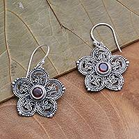 Garnet dangle earrings, 'January's Flower' - Sterling Silver and Garnet Flower Earrings