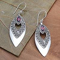 Garnet dangle earrings, 'Beauty's Triumph' - Balinese Style Garnet Dangle Earrings