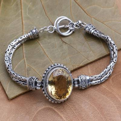 Citrine pendant bracelet, 'Endless Facets' - Brilliant Citrine Pendant Bracelet Handmade in Bali