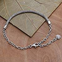 Sterling silver chain bracelet, 'Trailing Flower' - Women's Chain Bracelet with Flower Charm