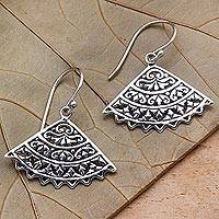 Sterling silver dangle earrings, 'Coquettish Fans' - Sterling Silver Fan-Shaped Dangle Earrings