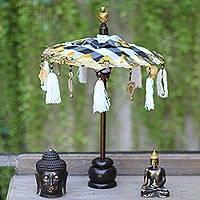 Cotton and wood Balinese umbrella, 'Pura Entrance' - Black and White Decorative Balinese Umbrella