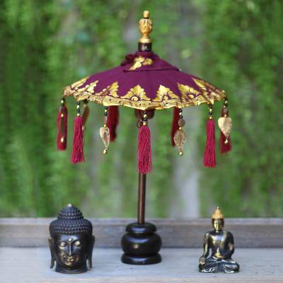 Cotton and wood Balinese umbrella, Pura Entrance in Maroon