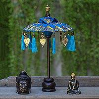 Cotton and wood Balinese umbrella, 'Sacred Moment in Royal Blue' - Royal Blue Mini Balinese Umbrella