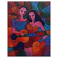 'Intimacy' - Signed Original Cubist Fine Art Painting from Java