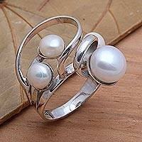 Cultured pearl cocktail ring, 'Wave Crest' - Creamy White Cultured Pearl Cocktail Ring