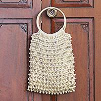 Cotton crochet handbag, 'Circles in Beige' - Crocheted Flax Beaded Handbag with Bamboo Handles