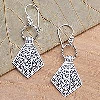 Sterling silver dangle earrings, 'Lamak' - Balinese Sterling Silver Dangle Earrings