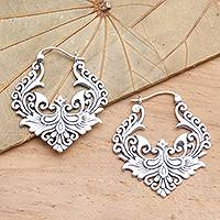 Sterling silver hoop earrings, 'Floral Flame' - Ornate Balinese Sterling Silver Hoop Earrings