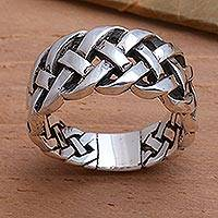 Sterling silver band ring, 'Bold Braid' - Bold Braided Sterling Silver Ring Handcrafted in Bali