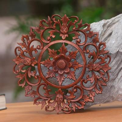 Wood relief panel, 'Sunflower Circle' - Hand Carved Balinese Floral Wood Relief Panel