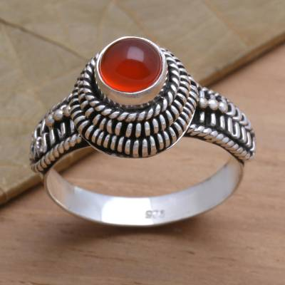 Carnelian cocktail ring 'Sunset Radiance' - Handcrafted Single Stone Sterling Silver and Carnelian Ring
