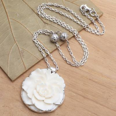 Sterling silver and bone pendant necklace, 'Creamy White Rose' - Balinese Sterling Silver and Carved Bone Flower Necklace