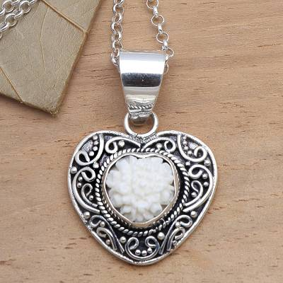 Sterling silver and bone pendant necklace, 'Flower in My Heart' - Sterling Silver and Carved Bone Floral Heart Necklace