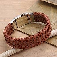 Men's braided leather and sterling silver wristband bracelet, 'Commemoration in Brown' - Brown Leather and Sterling SIlver Bracelet for Men