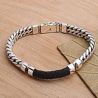 Men's sterling silver and leather bracelet, 'Bridge in Black' - Polished Sterling Silver and Leather Men's Bracelet