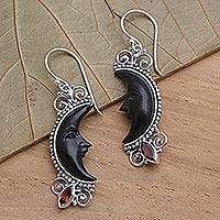 Garnet and buffalo horn dangle earrings, 'Dark Crescent Moon' - Silver and Garnet Moon Earrings with Water Buffalo Horn