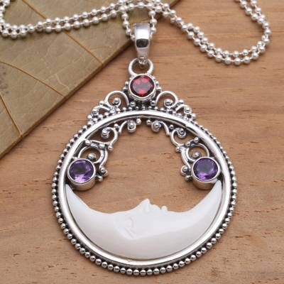 Garnet and amethyst pendant necklace, 'Peaceful Evening' - Moon Pendant Necklace with Amethyst and Garnet