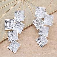 Sterling silver drop earrings, 'Tumbling Squares' - Modern Square Drop Earrings in Sterling Silver