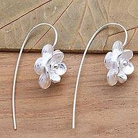 Sterling silver drop earrings, 'Delicate Bloom' - Artisan Crafted Flower Earrings in Sterling Silver