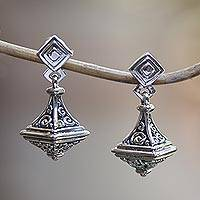 Sterling silver dangle earrings, 'Enlightened Bliss' - Handmade Buddha Curl Motif Sterling Silver Dangle Earrings