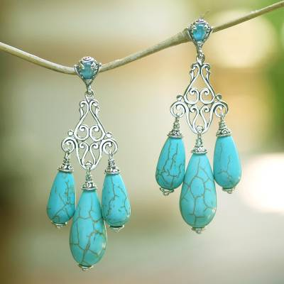 Blue topaz chandelier earrings, Lovely Lyre