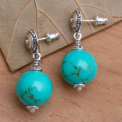 Sterling silver dangle earrings, 'A Perfect World' - Handmade Silver Dangle Earrings with Reconstituted Turquoise