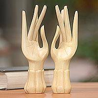 Wood ring holders, 'Graceful Gesture' (pair) - 2 Artisan Carved Hand Sculptures Designed to Hold Jewelry