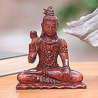 Wood sculpture, 'Hindu God Shiva' - Signed Artisan Carved Hindu Wood Sculpture of Shiva