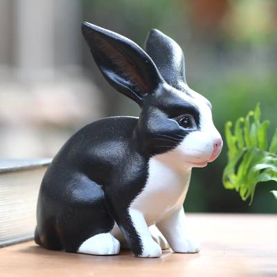 Wood sculpture, 'Inquisitive Dutch Rabbit' - Balinese Signed Black and White Dutch Rabbit Wood Sculpture