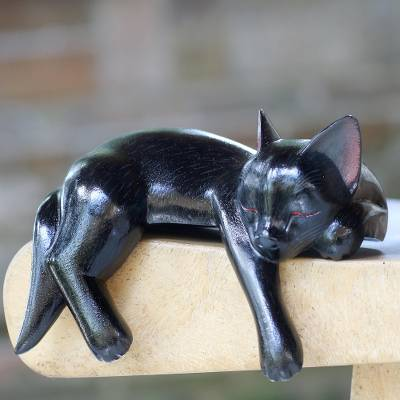 Wood sculpture, 'Black Catnap' - Balinese Signed Hand-Carved Sleeping Black Cat Sculpture