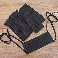 Cotton face masks 'Three Pleats' (set of 5) - Set of 5 Artisan Crafted Tie-On Black Cotton Face Masks