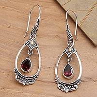 Gold-accented garnet dangle earrings, 'Victoriana' - Sterling Silver Garnet Earrings with Gold Accents