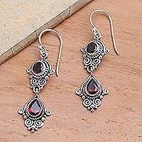 Garnet dangle earrings, 'Traditional Ways' - Hand Crafted Garnet Dangle Earrings