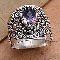 Gold accent amethyst cocktail ring, 'Checkerboard Teardrop' - Ornate Balinese Silver and Amethyst Ring with Gold Accents