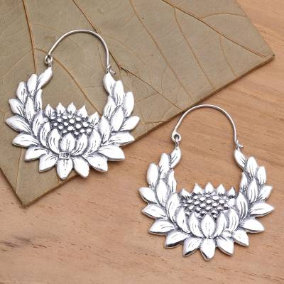 Sterling silver hoop earrings, 'Lovely Lotus' - Sterling Silver Lotus Flower Hoop Earrings