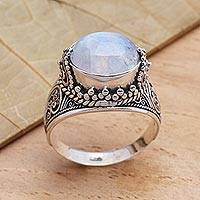 Rainbow moonstone cocktail ring, 'Frosty Color' - Elegant Rainbow Moonstone and Sterling Silver Ring