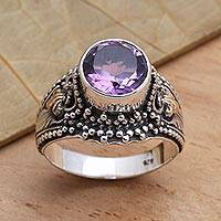 Amethyst cocktail ring, 'Twilight Time' - Balinese Style Amethyst Cocktail Ring