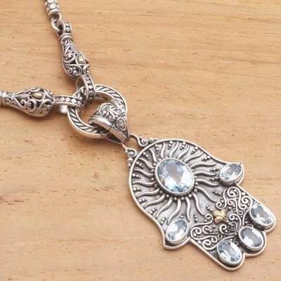 Gold-accented blue topaz pendant necklace, Dazzling Hamsa