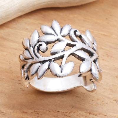 Sterling silver band ring, 'Rice Stalks' - Rice Stalk Sterling Silver Band Ring