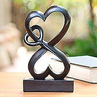Wood sculpture, 'Forever Linked' - Romantic Hand Carved Wood Sculpture with Black Finish