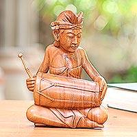 Wood sculpture, 'Kendang Musician' - Kendang Player Hand Carved Wood Sculpture