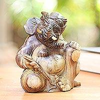 Hibiscus wood sculpture, 'Imposing Ganesha' - Hibiscus Wood Hand Carved Ganesha Sculpture