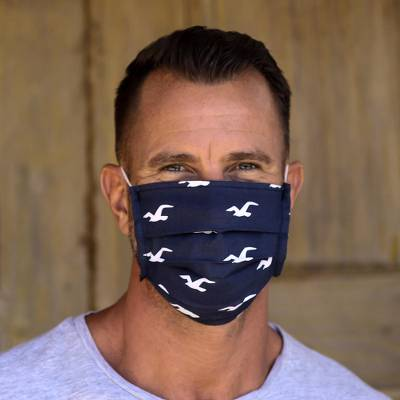 Cotton face masks 'Island Vibe' (set of 3) - 3 Single Layer Blue Cotton Print Elastic Loop Face Masks