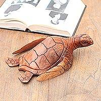 Wood sculpture, 'Elegant Sea Turtle' - Artisan Hand Carved Sea Turtle Sculpture