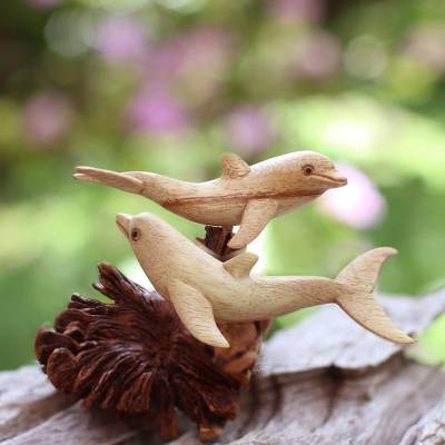Wood sculpture, 'Dolphin Harmony' - Artisan Crafted Coral Reef and Dolphin Sculpture